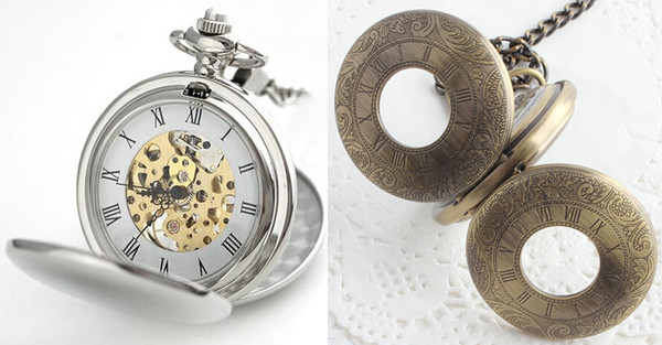Wholesale 50pcs/lot Silver Polished Double Opened Flip Mechanical Pocket Watch with Cowboy Chain Christmas Gift Watch PW046