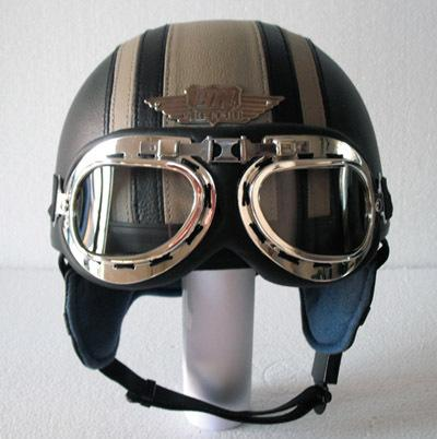 Wholesale-14 Farben! HEISSER lederbezogener Motorradhelm Roller mit offenem Gesicht Casco Half Helmet UV-Schutzbrille Erwachsene S M L XL