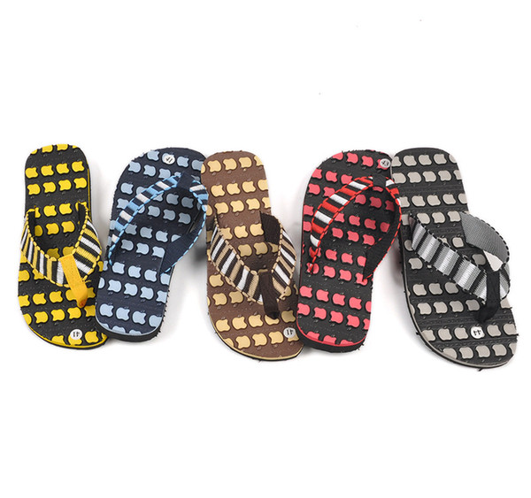 Brand New Mens Sandals Flip Flops 2015 5 Colors Apple Fashion Man Slippers Loafer Cheapest Hot Sale