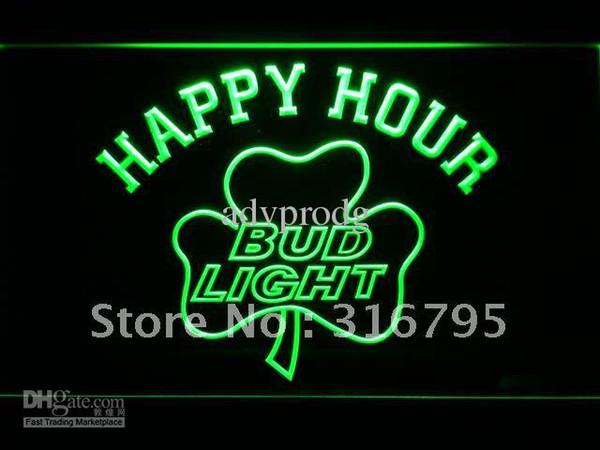 665-g Bud Light Shamrock Happy Hour Beer Bar Neon Sign