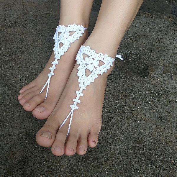 1 Pair OR 2 PCS Crochet Barefoot Sandals, Anklet Barefoot Sandles, Foot jewelry, Steampunk, Victorian Lace White Shoes