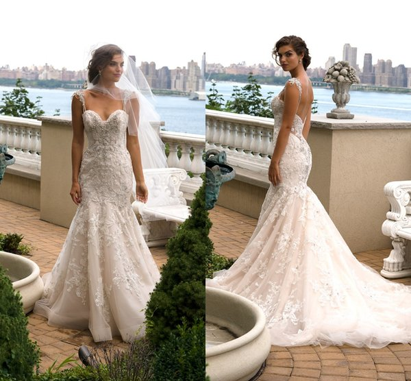 2016 Eve Of Milady Wedding Dresses Backless Crystals Lace Mermaid ...