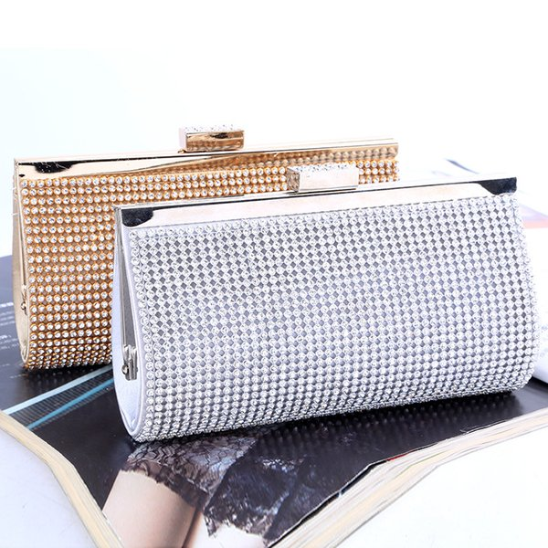 best selling Factory Retaill Wholesale brand new handmade noble diamond evening bag clutch with satin for wedding banquet party porm