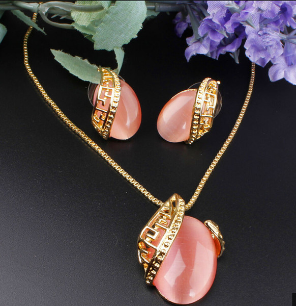 best selling Unique Design Romantic Oval Opal Stone Pendant Necklace18K Gold Plated Necklace Earrings Jewelry Set For Women Wedding Set