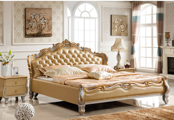 Genuine leather bed luxury tyle golden imple fa ion double per on good quality 180 200cm a8867d