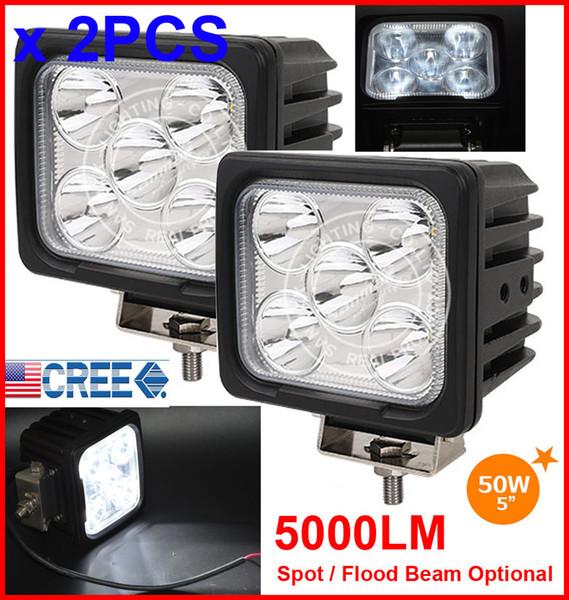 "EMS 2PCS 5"" 50W CREE 5LED*10W Driving Work Light Square Offroad SUV ATV 4WD 4x4 Spot / Flood Beam 9-30V 5000lm POWER Truck Forklift Bright"