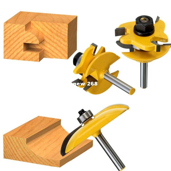 3pcs 1/4 '' Round RailStile Router Bits Set Cove Panel levantado Herramientas de corte de madera de alta calidad taladro de madera mejor precio