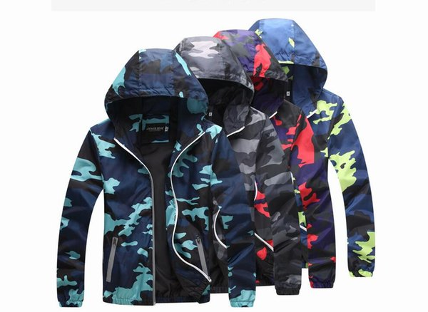 Summer 2019 Wind Jacket Camo Jacket Windbreakers Lightweight Jackets Camouflage Hooded Coats Hooded Slim Fashion A Complete Range Of Specifications Camping & Hiking