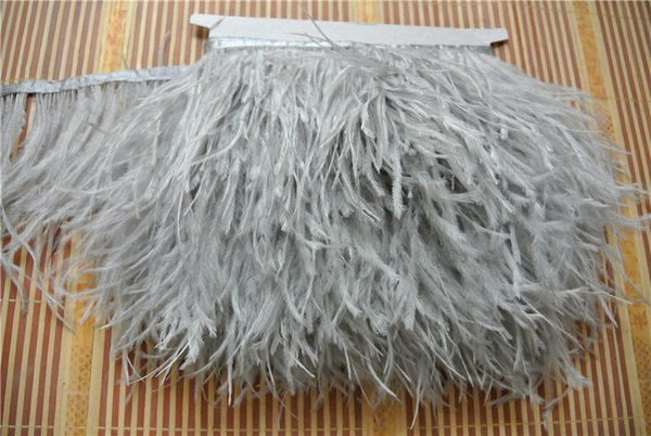 Free shipping 10yards/lot light grey ostrich feather trimming fringe ostrich feather trim for weddings dress decor