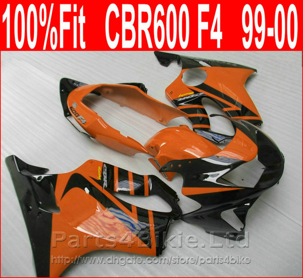 NEW Body parts Injection molding for Honda custom fairings CBR 600 F4 1999 2000 Orange black fairing kit CBR600 F4 99 00 CQDV