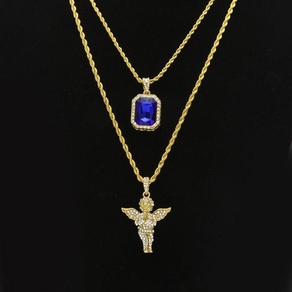 Herren Hip Hop Schmuck Sets Mini Square Ruby Sapphire Voller Kristall Diamant Engel Flügel Anhänger Gold Kette Halsketten für Männer Hiphop Schmuck
