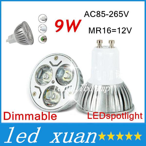 100pcs 9W Dimmable LED Bulb Light GU10/MR16/E27/E14 LED Spotlights CREE LED Lights 3x3W AC 85-265V Energy-saving Bulb Led Light Bulb