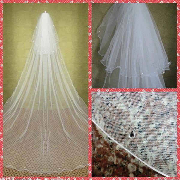 Elegantes dos niveles Layer Beaded Crystal Velos de novia Catedral Vintage Velos de novia 2015 Accesorios para el cabello nupcial con peine Rhinestone Velos