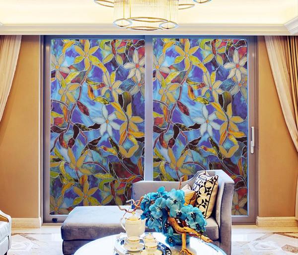 Pegatinas de ventana de la película de cristal de la pantalla solar de la moda de la flor cuarto de baño sin pegamento Rejillas de vinilo de colores a prueba de papel de las parrillas 45 * 100 cm