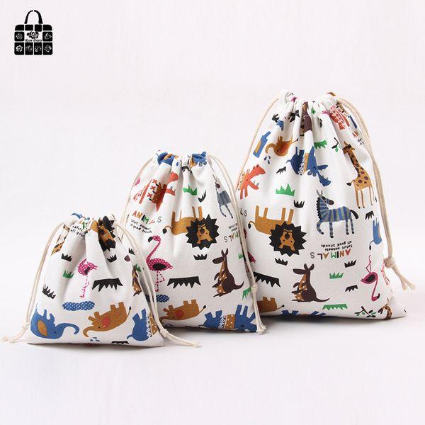 Wholesale- 1 pcs Animal printed 100%cotton canvas dust cloth bag Clothes socks/underwear shoes receive bag home Sundry kids toy storage bag