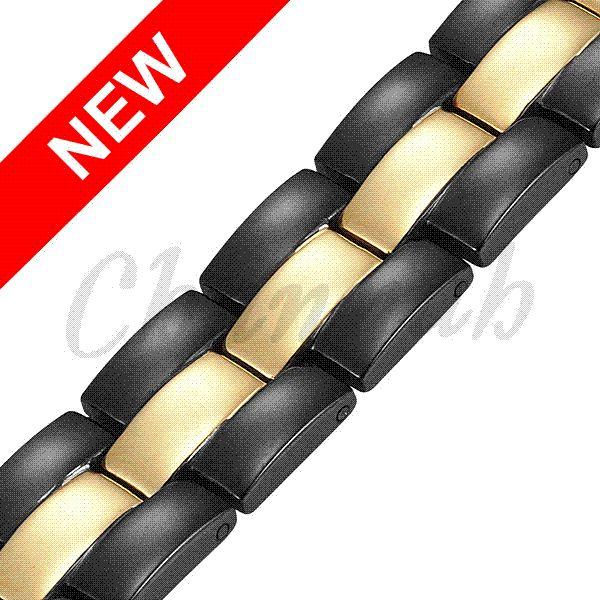 2015 4in1 Men Magnetic Negative Ions Germanium Far Infar Red Stainless Bracelet Black Gold Bangle Free Shipping Hong Kong Post
