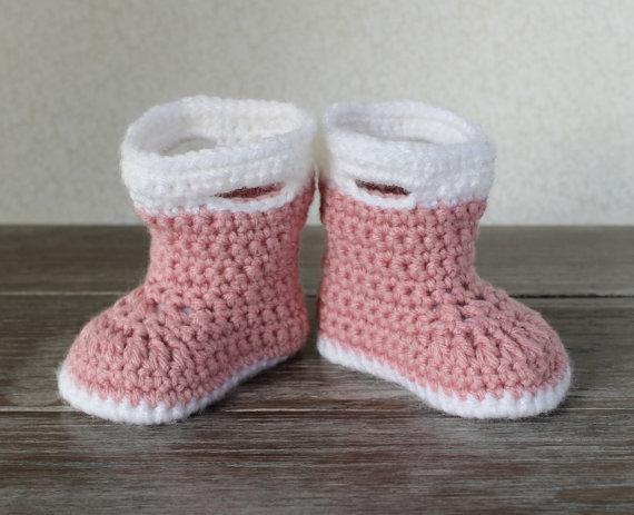 2015 Baby Galoshes - Baby Rain Boots - Pink and WhiteBaby Boots - Hand Crochet Baby Boots - Baby Girl Boots