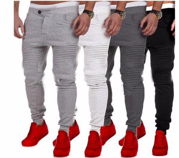 top popular Mens Pants Designer Harem Joggers Sweat pants Elastic Cuff Drop Crotch Biker Joggers Pants For Men Black Gray Dark Grey White 2019