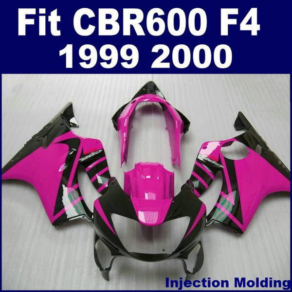 100% road Injection molding for HONDA fairing parts CBR 600 F4 1999 2000 red black cbr600 f4 99 00 custom fairing HSHY