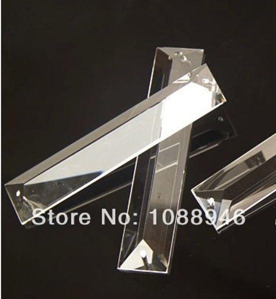 Atacado-20pcs / lot, 22X100MM triângulo de cristal PRISM PART em 2 furos, lustre de cristal parte pingente gota de prisma para lustre