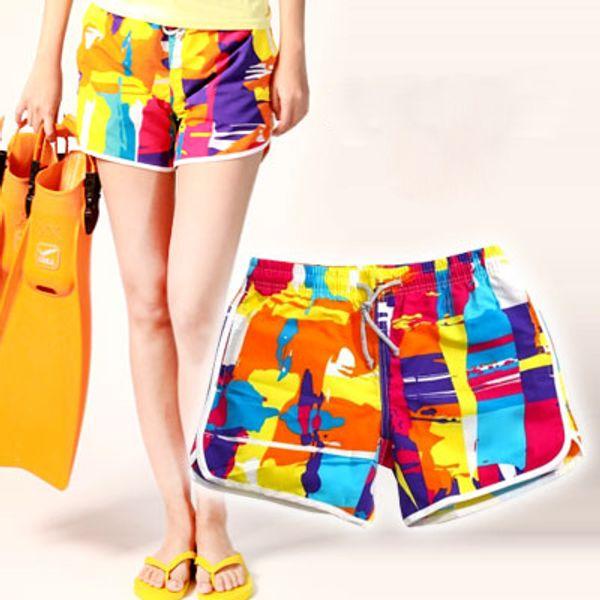 Envío gratis de Alta calidadNuevo 2015 mujeres del verano Nuevo Más el Tamaño Bandera Junta Pantalones Cortos Playa Shorts chicas playa SWIMWEARS tabla de surf pantalones cortos