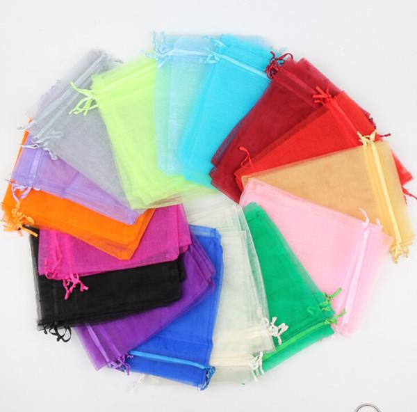 top popular 100pcs lot 16Colors 13X18CM Organza Sold Color Rectangle Jewelry Pouches Bags For Wedding Favors Wine Bottle Bag 2020