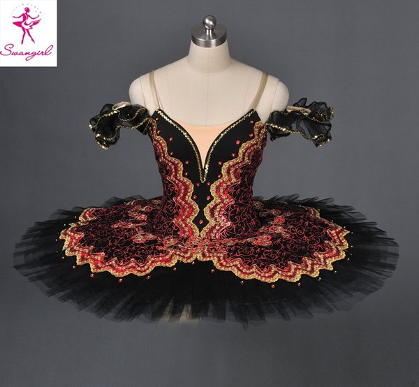 Free Shipping Adult Black Pancake Ballet Tutu Skirt For Girls Professional Custom Made Tutu For Don Quixote Dulcinea AT1057