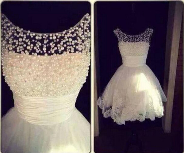 Pretty girl heer crew neck white bride maid dre e a line ball gown hort bridal gown with pearl applique party maid of honor dre