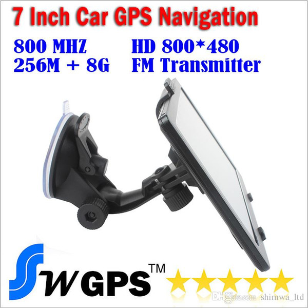 7 inch 256M,8G MTK GPS car navigator 800MHz,HD 800*480,FM,WINCE 6,offer newest maps navigation and free shipping,wholesale