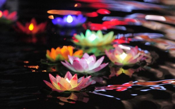 Free shipping LED Artificial Lotus flower Colorful Changed Floating Water flower swimming Pool Wishing Light Lamps Lanterns Party supply
