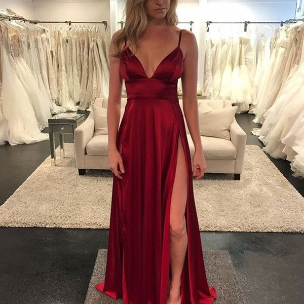 Dresses For Women Deep V Neck A Line Side High Split Long Party ...