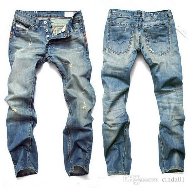 62c691f74ac Fashion Men Jeans Mens Slim Casual Pants Elastic Trousers Light Blue Fit  Loose Cotton Denim Brand Jeans For Male
