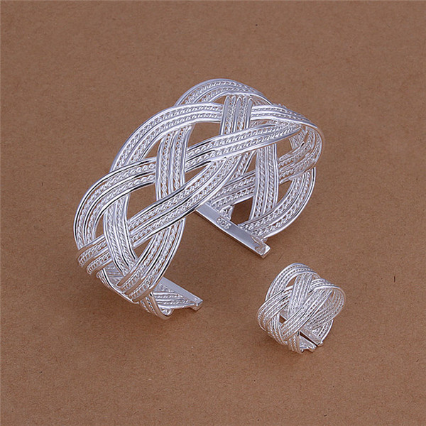 top popular Low price 925 sterling silver woven bangles & Ring Fashion Jewelry Set Top quality free shipping 2020