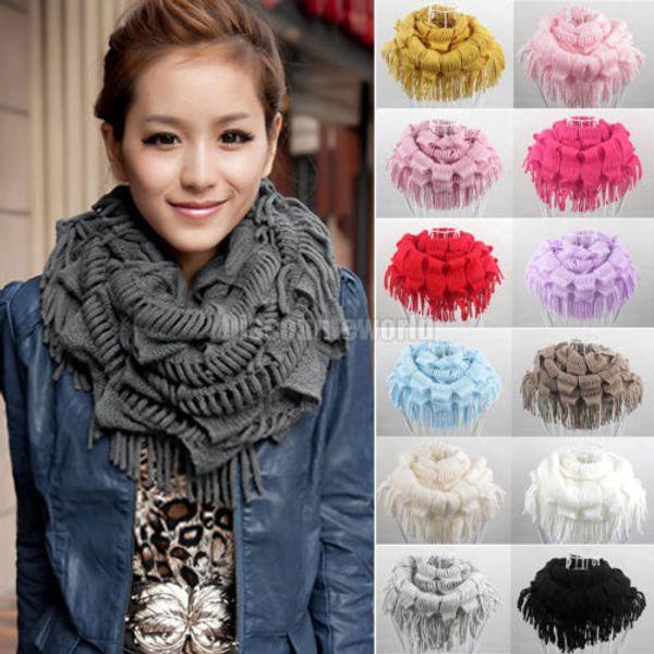 2015 Hot Selling Fashion New Women Winter Warm Knit Fringe Tassel Neck Wraps Circle Snood Scarf Shawl 13 Colors