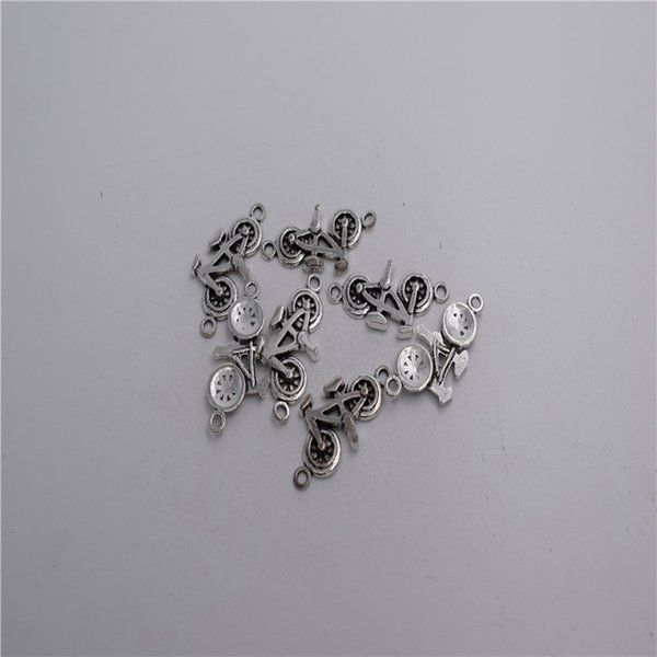 new Materials: zinc metal alloy 22*15mm,loop:1mm 12pcs Antique silver plated 2 hole bicycle pendant connector T0187