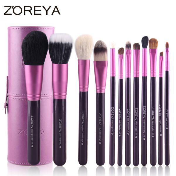 12pcs pinceles de maquillaje de pelo de cabra natural para mujeres herramienta cosmética profesional pincel de maquillaje en polvo conjunto Zoreya marca ventas calientes