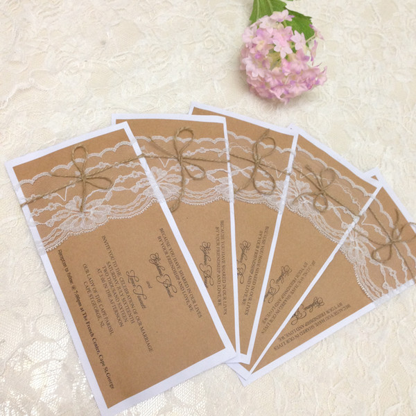 rustic wedding invitation set country wedding kraft paper invitation cards printable burlap and lace custom made