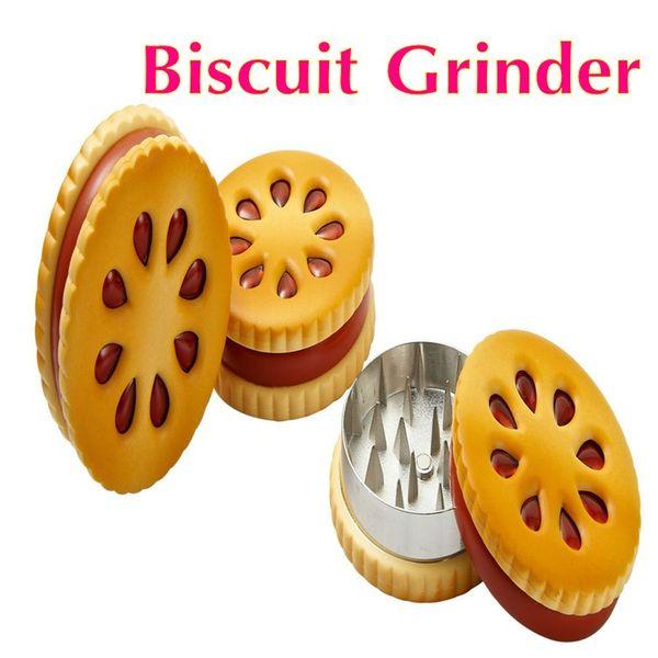 2016 Novo 55mm Forma De Biscoito Biscuit Metal Grinder Tabaco Crusher metal tabaco erva moedor para fumar DHL livre