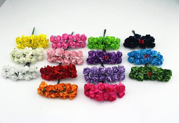 Ücretsiz Kargo 2-2.5 cm kafa Renkli Dut Kağıt Çiçek Buketi / tel kök / Scrapbooking yapay gül çiçekler (144 adet / grup)