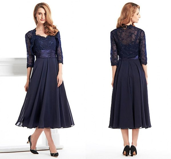 Custom Made Tea Length Mother Of The Bride Groom Dresses With Jacket Long Sleeves Navy Blue Lace Plus Size Women Evening Formal Gowns