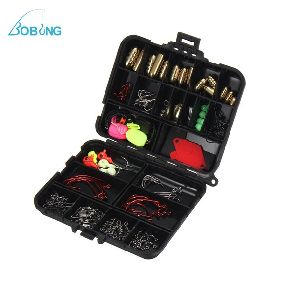 Bobing 128 Pcs /Set Fishing Accessories Tackle Box Kits With Fishing Hooks Connector Spring Ring Line Holder Lure Keeper