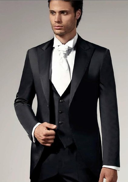 Cheap Black Mens Suits 2015 Mens Wedding Suits Peaked Lapel Mens ...