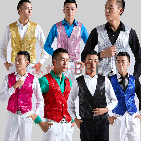 best selling Fall-Paillette Male Sequins Stage Performance Costumes Men Vest Mc Host Clothing Singer Waistcoats Show Sleeveless Jackets D195