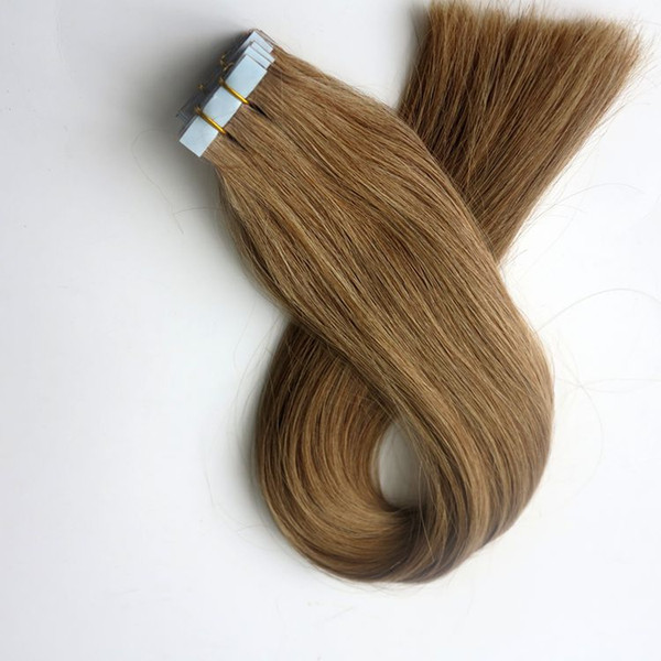 100g 40pcs Glue Skin Weft Tape in Hair Extensions Brazilian Indian Remy human hair 18 20 22 24inch #12/Light Golden Brown