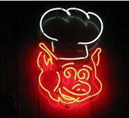 "BBQ Cute Pig Neon Sign Handcrafted Custom Real Glass Tube Store Beer Bar Hotel Club Pub Advertising Decoration Display Neon Signs 17""X14"""