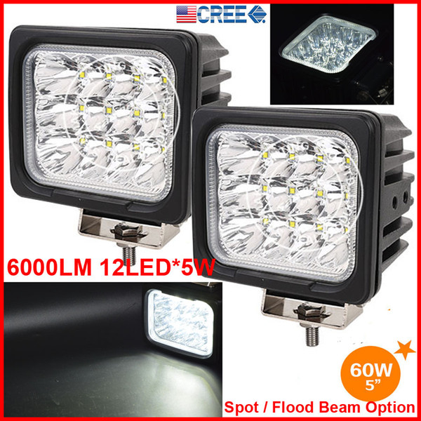 "2PCS 5"" 60W CREE 12LED*5W Driving Work Light Square Offroad SUV ATV 4WD 4x4 Spot / Flood Beam 12/24V 6000lm FogTruck Forklift SUPER Bright"