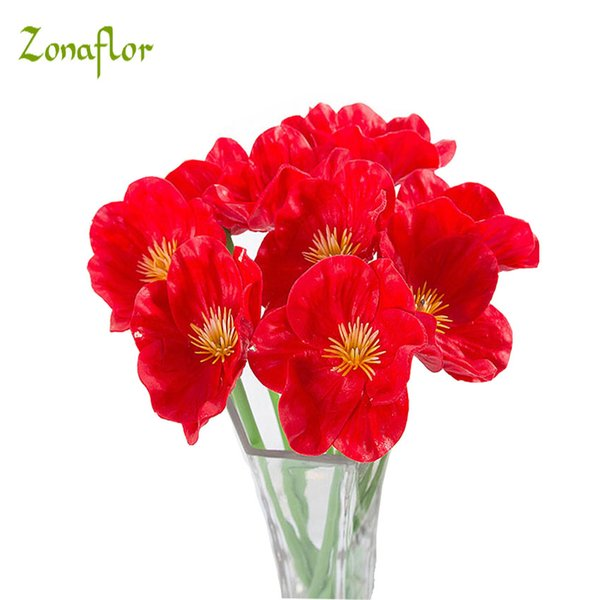 Zonaflor 20pcs Lot Pu Artificial Flowers Mini Poppy Real Touch Wedding Decorative Fake Flower Home Decoration Accessories