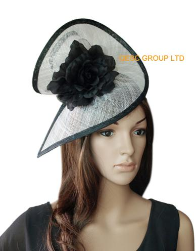 NEW BIG fascinator White/black sinamay hat bridal fascinator in SPECIAL shape with silk flower ,for wedding Kentucky Derby