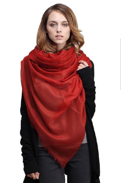 Elegantes Inner Mongolia 100% 300 Kaschmirwollschal Schal-Verpackungs-Frauen Mädchen-Damen-Schal Weihnachtsgeschenk 230 * 100cm 60grams 2pcs / lot # 3962