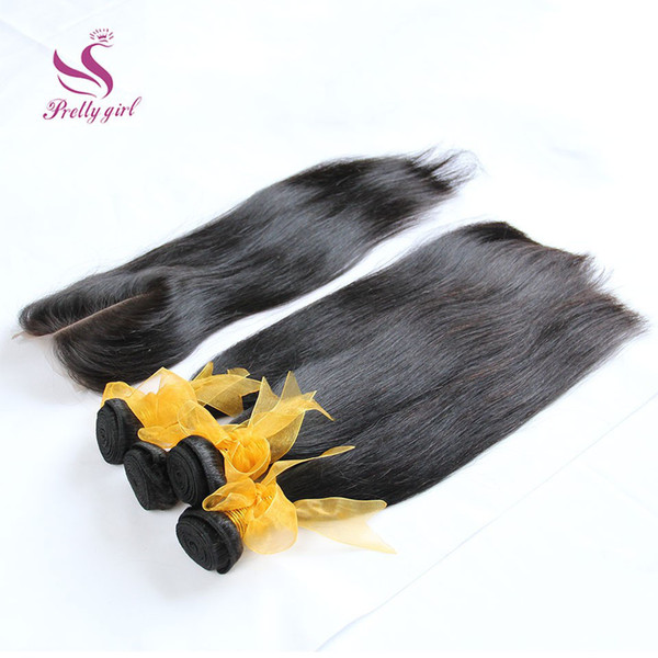 8A Brazilian Straight Hair Bundles with Free Lace Closure Malaysian Peruvian Indian Cambodian Unprocessed Virgin Human Hair Weaves For Sale